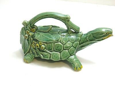 """Vintage 1950's Era Mccoy Green Turtle Watering Can 10"""" Long ~ Excellent!!"""