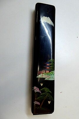 Vintage Japanese Boxed Lacquered Pearl Shell Inlaid Chop Sticks Painted Antique