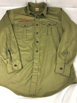 Mens Khaki Green Boy Scouts Of America Long Sleeve Uniform Shirt sz 15 1/2 L BSA