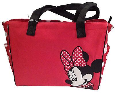 Disney Minnie Mouse Large Baby Diaper Bag Polka Dots Red Tote Bag NEW