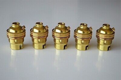5 brass bayonet fitting bulb holders B22 earthed UK made 10mm entry L2