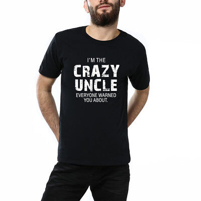 I'm The Crazy Uncle Letter Print T Shirt Casual Tees Sports Short Sleeves Top LG