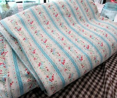 Vintage Mattress Ticking French Blue Stripe & Floral Heavy Feather Bed Cover