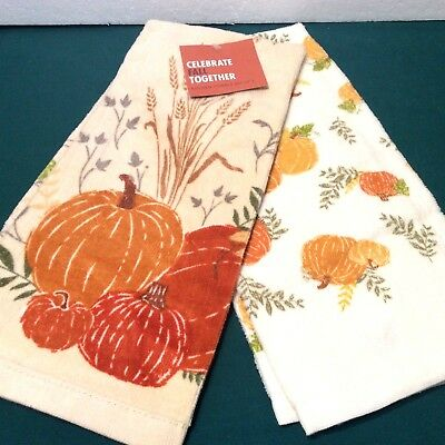 (2) Fall Hand Towel with Pumpkin Patch design Kohl's NEW  FREE SHIP Thanksgiving