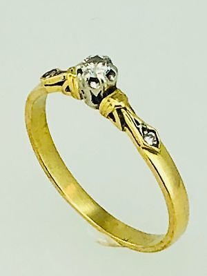 18k Gold & White Gold Six Claw ANTIQUE DIAMOND RING
