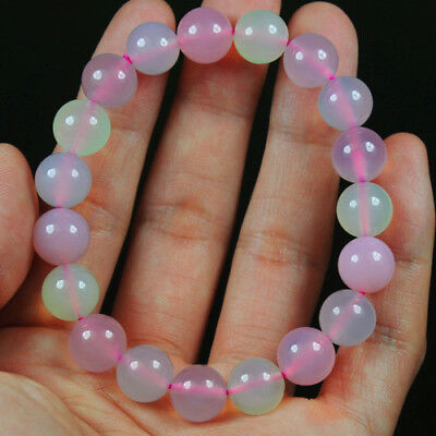 144.2Ct 100%Natural Blue Pink Green Chalcedony Round Beads Bracelet Chain BSC279