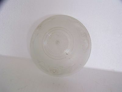 Vintage frosted and clear glass ceiling light fixture shade 3 chain hanging type