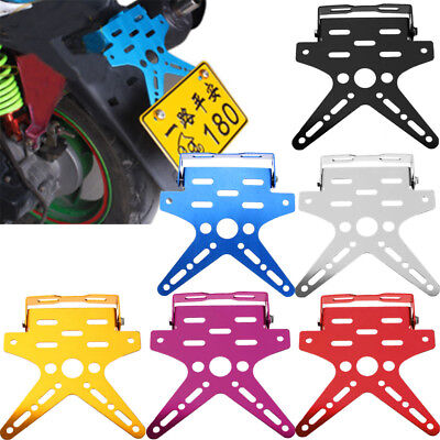 Motorcycle Number License Plate Holder Mount Bracket Adjustable Alloy Tail Rear