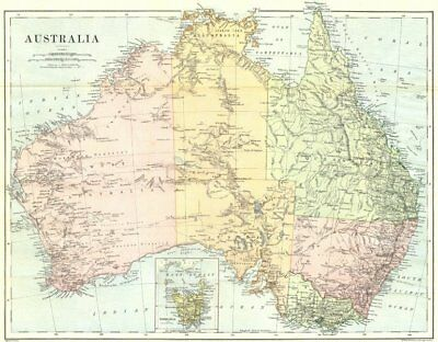 AUSTRALIA. Australia 1886 old antique vintage map plan chart