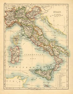 ITALY. Showing states/territorial divisions. JOHNSTON 1897 old antique map