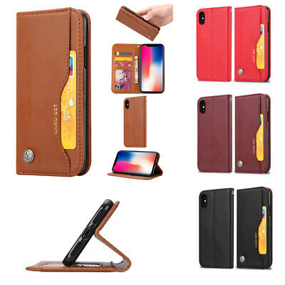 Vintage classic Retro Leather Magnetic Wallet Card Case Best Cover For Phone