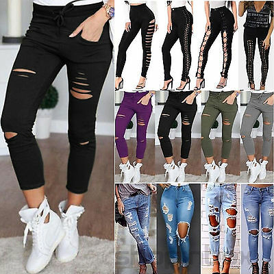 Womens Ladies Celeb Stretch Ripped Skinny Slim High Waist Denim Pants Jeans 4-14