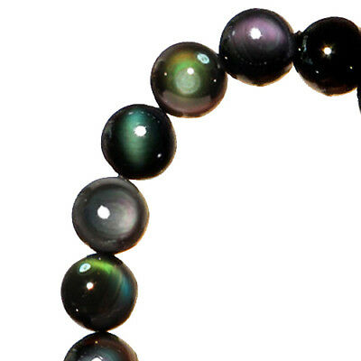 116.6Ct 100% Natural Mexican Rainbow Obsidian Bead Bracelet BROb599