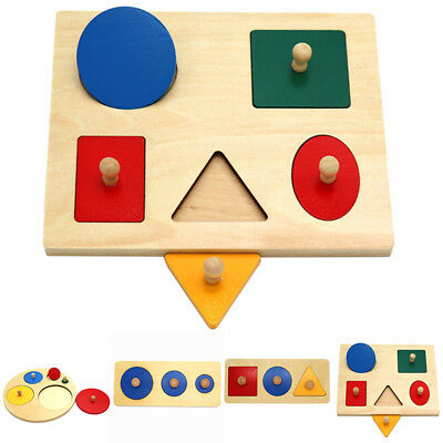 Wooden Baby Kids Child Educational Geometric Puzzle Toy Sorting Board Blocks Set