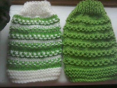 pack of 2 pull on TINY XXX SMALL hand knitted puppy/kitten jumper - crew neck