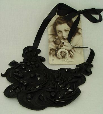 Vintage necklace fabric artificial pearls black nostalgical fashion jewellery