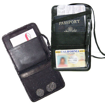 Leather Boarding Pass Holder Passport Travel Id Ticket Neck Strap Wallet