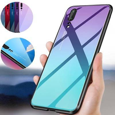 For Huawei P20/Lite/Pro Aurora Shockproof Case Tempered Glass Hard Back Cover