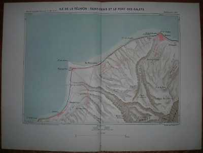 1889 Reclus map SAINT-DENIS AND VICINITY, REUNION, INDIAN OCEAN (#1)