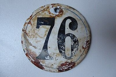"""Antique French Enamel House Number """" 76 """""""