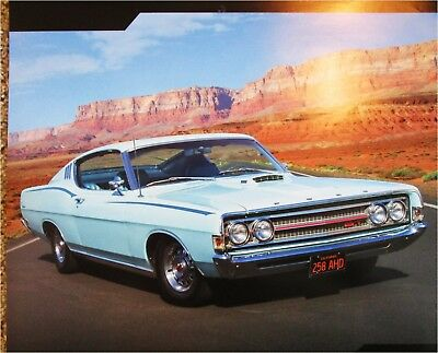 Ford Torino Gt  Dr Ht Car Print Green