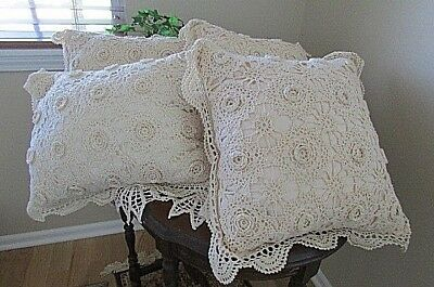 Lot 4 Ivory Cotton hand Crochet Lace eyelet Pillows Cottage Chic Vintage shabby