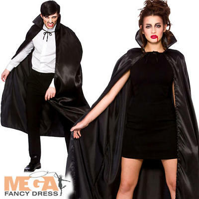 Black Collared Vampire Cape Adults Fancy Dress Mens Ladies Halloween Costume Acc