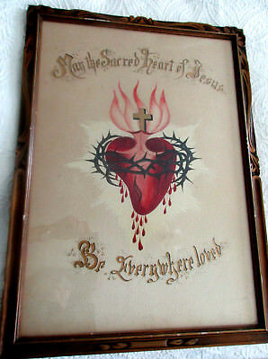 Antique SACRED HEART OF JESUS Print ANTIQUE Gold Wood Frame Religious Old