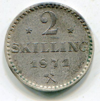 Norway 2 Skilling 1871   lotsep2520
