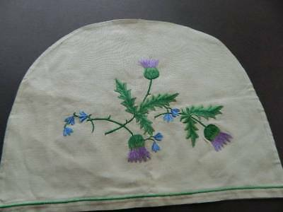 Vintage UNUSED Irish linen embroidered tea cosy cover - Thistles.
