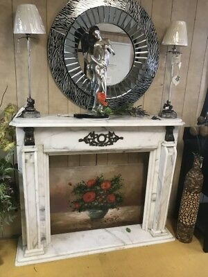 Vintage French Chateau Provence Style Hand Carved White Marble Fireplace Mantle