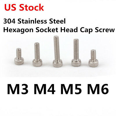 M3 M4 M5 M6 8/10/12mm 304 Stainless Steel Hexagon Socket Head Cap Screw US Stock