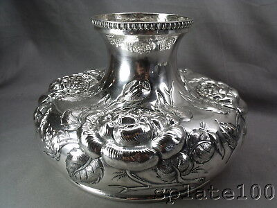 Massive Hallmarked Victorian Full Blown Repousse' Floral's Silver Plate Vase