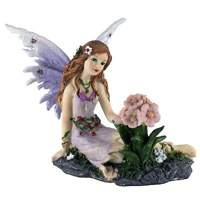 """Small Purple Fairy With Flower Figurine 4"""" High Sparkly Detailed New In Box!"""