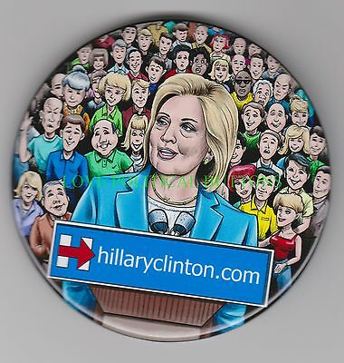 Hillary Clinton 2016....crowd Scene  Political Buttons Pin Pinback 3 Inch Button