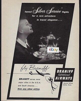 Braniff International1958 Silver Service In Usa & South America Dc-7 & F/A Ad
