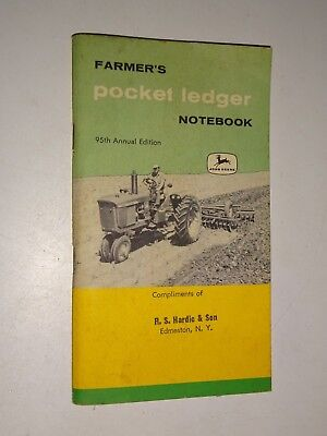 1960 1961 1962 John Deere Farmers Pocket Ledger Notebook Edmeston, NY Hardic Son