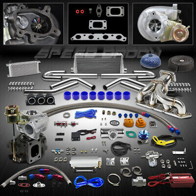 T25 21Pc Turbo Kit+Manifold+Intercooler For 89-97 Toyota Celica/Corolla 4A-Fe