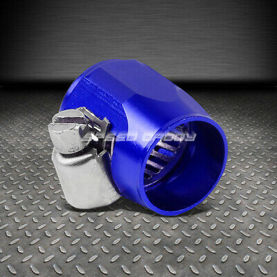 6An An-6 Push On Hose End Cover Clamp Adapter Blue Aluminum Anodize Fitting