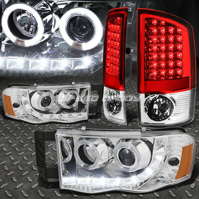 Chrome Halo Projector Headlight+Red Led Brake Tail Light For 02-05 Dodge Ram