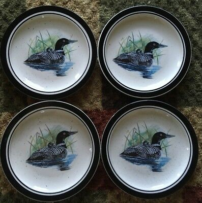 Folk Craft Stoneware *LOON LAKE by Scotty Z* 4 pc. Salad Dessert Plates Set Lot