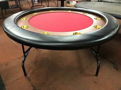"""58"""" Round Professional Poker Table W/ Timber   +  Fold Up  Leg [Red]  + 2 Cards"""
