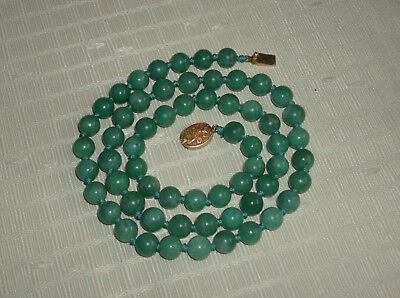 """Vintage Estate Chinese Knotted Jade Necklace Silver Clasp 25"""" EUC FreeShip"""