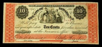 1862 City of Newark, NJ 10 Cents Fractional Note - F+ - Serial #7408 - Fine