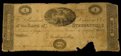 181?'s Issue Bank of Steubenville, OH $1 Note - VG+/F - Haxby OH-410 G14