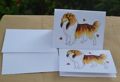 Rough Collie .Post cards made from my original watercolor. Set of 2 .LOOK