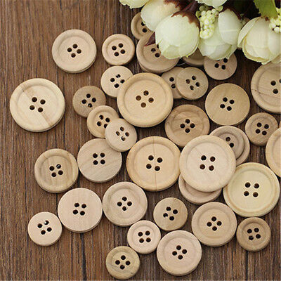 50Pcs Mixed DIY Wooden Buttons Natural Color Round 4-Holes Sewing Scrapbooking
