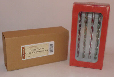 Longaberger Glass Candy Cane Ornament Set From 2007 - NIB