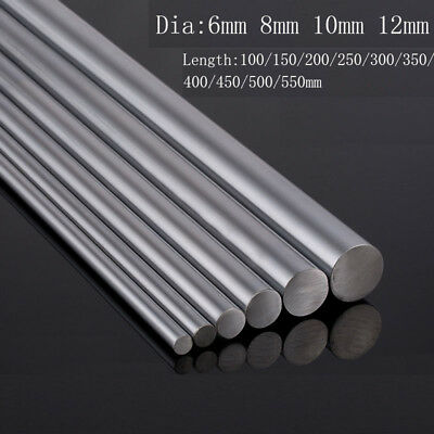 6 8 10 12mm Chromed Smooth Rod Linear Rail Shaft Steel CNC 3D Printer 100~550mm