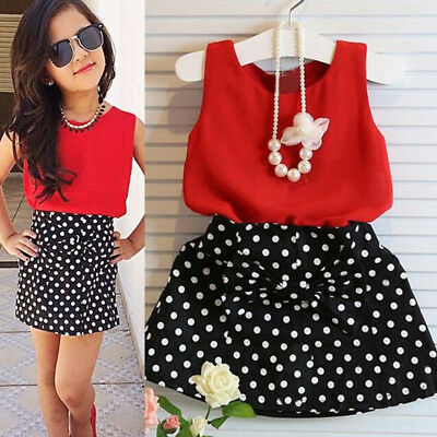2PCS Kids Baby Girls Outfits Party Casual T-shirt Tops + Dot Dress Skirts Summer